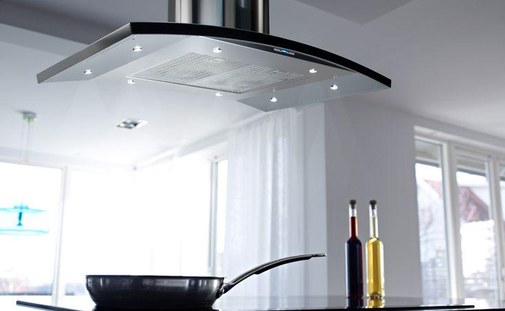 Kök med modern, minimalistisk look. Fläkt i rostfritt stål som andas…