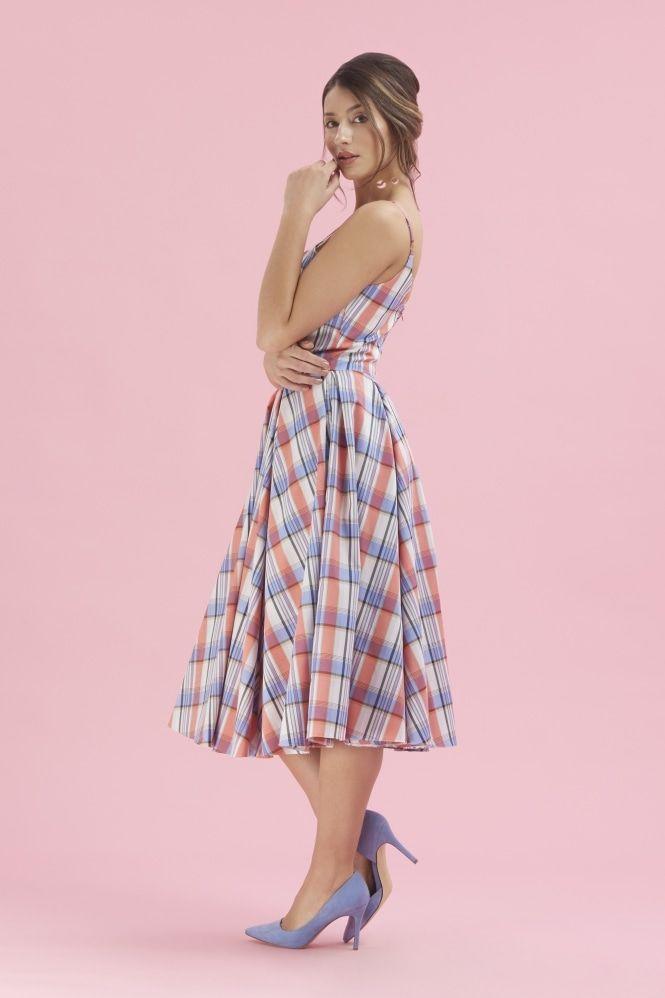 f8a27a377231 Priscilla Plaid Midi Dress