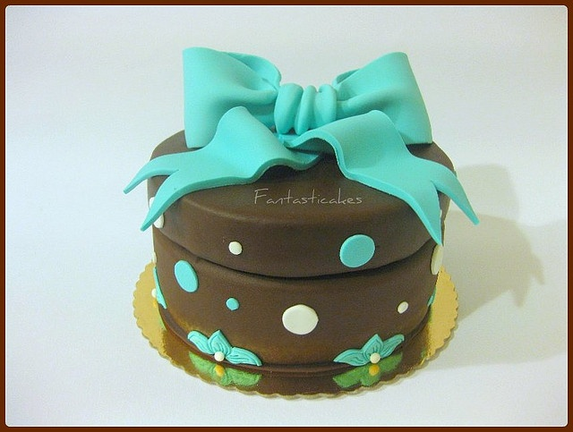 Torta pacco regalo turchese / Teal Present Gift box