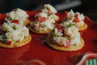 Asian Crab Salad-Topped Brown Rice Crisps