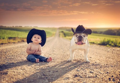 Country baby and dog cute animals outdoors baby country
