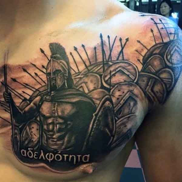Spartan Men's Warrior Chest Tattoo Ideas