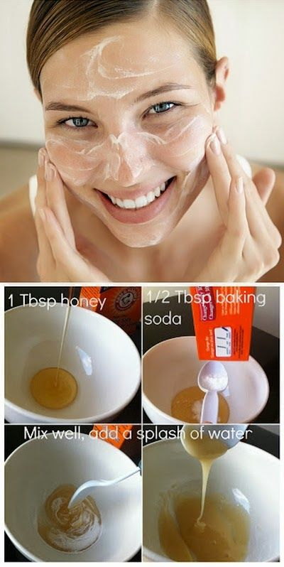 Homemade Exfoliant With Honey and Baking Soda | Mix all ingredients in a small bowl and gently massage into your skin for 2-3 minutes in a circular motion. | For a light exfoliation, rinse immediately after with cold water (which closes pores). To use as a mask, leave scrub on for 10-15 minutes then rinse.
