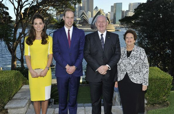 In this handout image supplied by Admiralty House, the official Sydney residence of the Governor-General, Prince William, Duke of Cambridge and Catherine, Duchess of Cambridge pose with Governor-General Sir Peter Cosgrove and Lady Cosgrove at Admiralty House, on April 16, 2014 in Sydney, Australia.