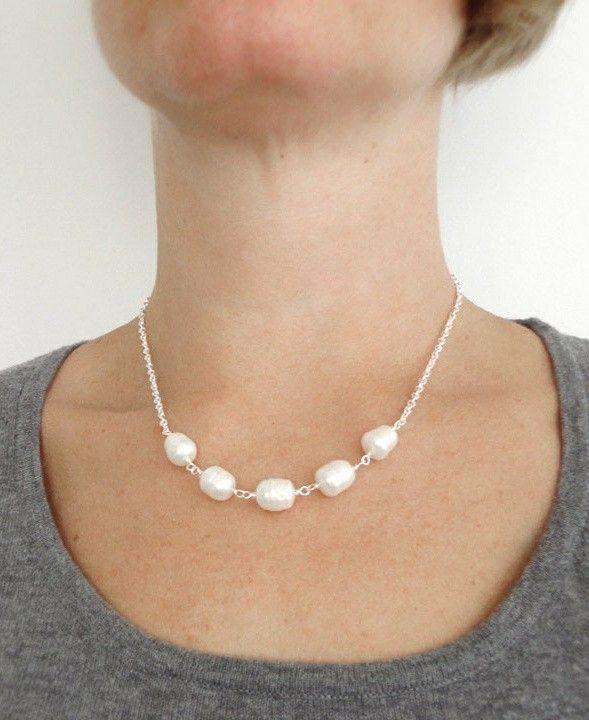 Pearl Necklace GSilver 31 Cream
