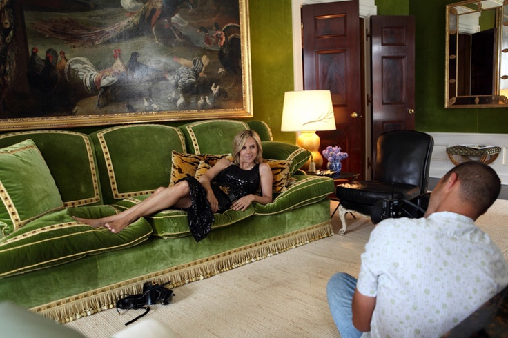 Tory Burch Being Photographed At Home In Her Library, In