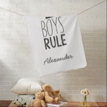 Boys Rule Custom Name Blanket -Black White Nursery
