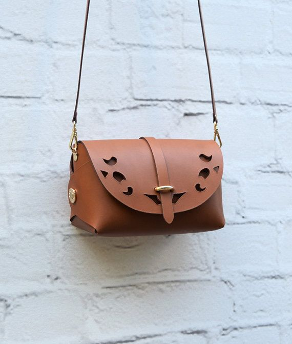 Tabac Leather Cutout Barrel Bag Large Tabac BagGift for Her