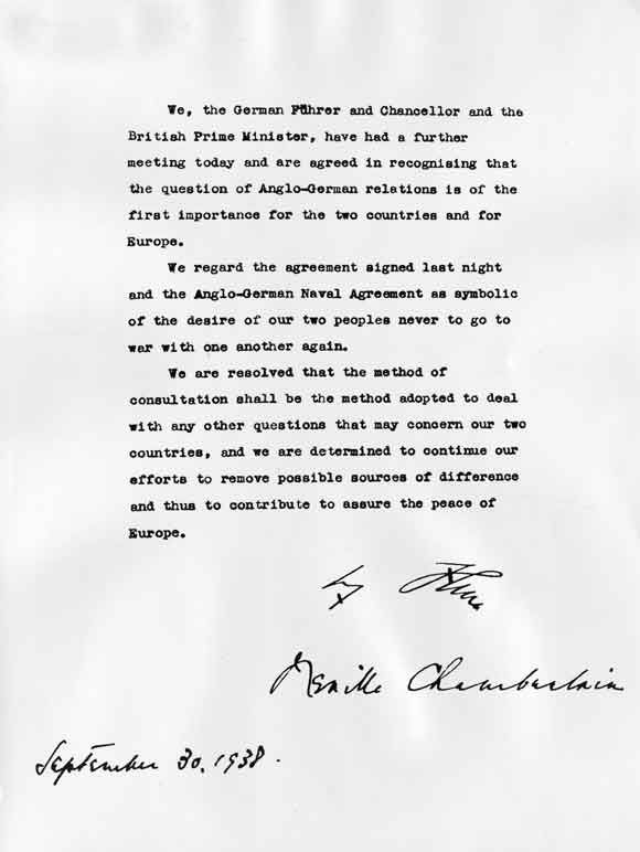 The Munich Agreement - September, 1938. Hitler and Chamberlain agree to strive for peace... less than a year before Germany's invasion of Poland and the onset of WW-II.