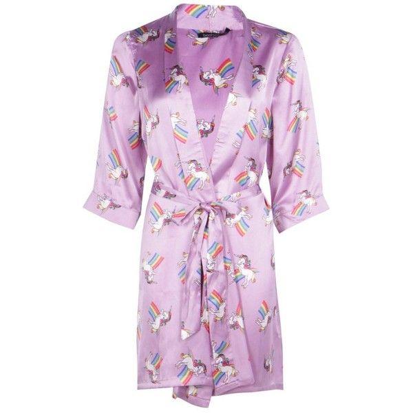 Boohoo Zoe Unicorn Satin Tie Waist Kimono Robe | Boohoo ($19) ❤ liked on Polyvore featuring intimates, robes, dressing gown, satin bathrobe, kimono bath robe, kimono dressing gown and satin robe