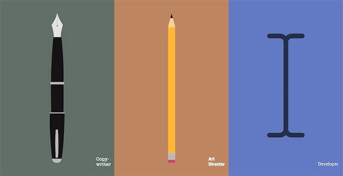 On the Creative Market Blog - Copywriters, Developers and Art Directors Face Off in Clever Illustrations