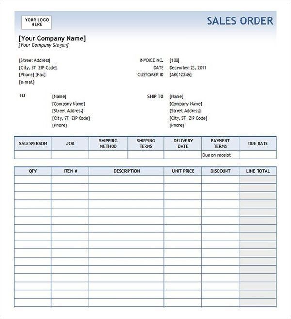 Blank Order Form Template Excel Order Form Template Word