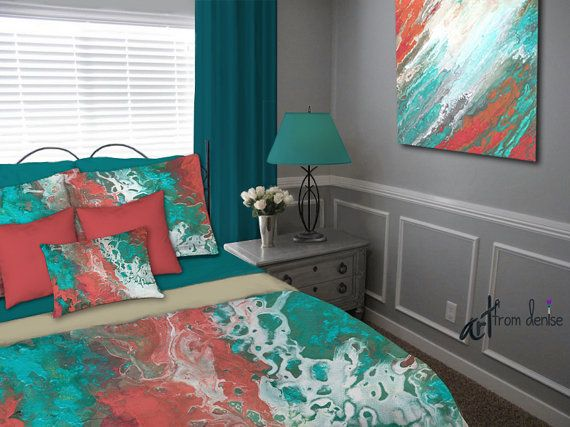 Teal And Coral Duvet Cover Or Bedding Set Abstract Aqua
