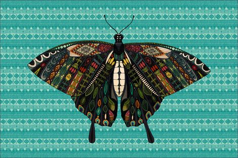 swallowtail butterfly teal tea towel fabric by scrummy on Spoonflower - custom fabric
