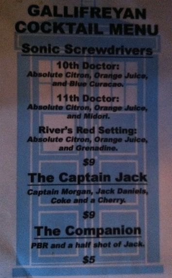 YES.  Doctor Who cocktails.  Although for a 10th Doctor I prefer ginger ale instead of orange juice...