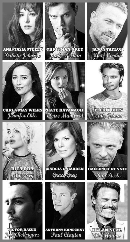 A collage with photos of the actors and actresses who will be portraying the characters in Fifty Shades of Grey the Movie.