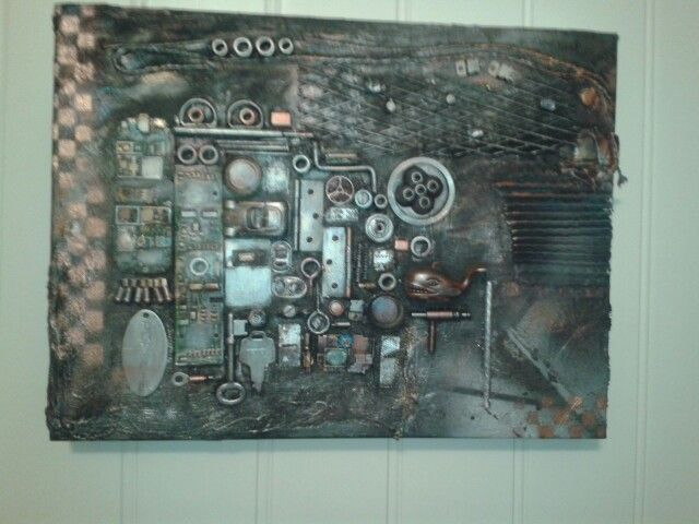 Found objekts picture on canvas.