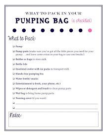 How to pack your pumping bag: A great article for new moms going ...