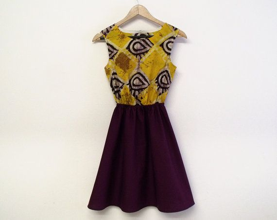 Purple batik dress wax print cotton dress african print dress ethnic tribal skater dress uk size 14 purple yellow