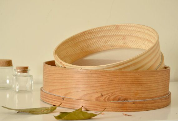 Wooden Sieve. Portuguese traditional sieve with wooden frame and thin metal mesh