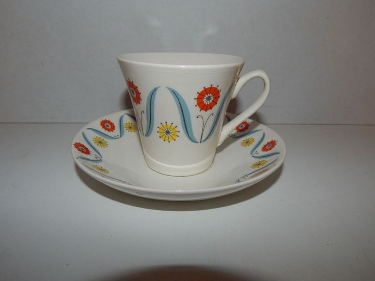 Vintage Stavangerflint Norway Cup and Saucer Flower Design