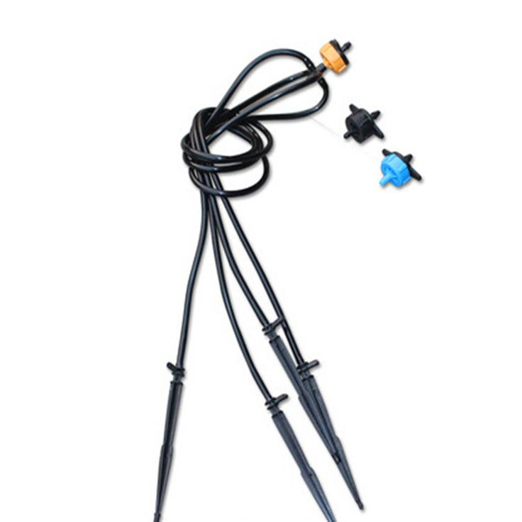 Spider Distribution Assembly with 4 Straight Arrow Dripper Mini-Stakes Greenhouse Dripper Irrigation N120