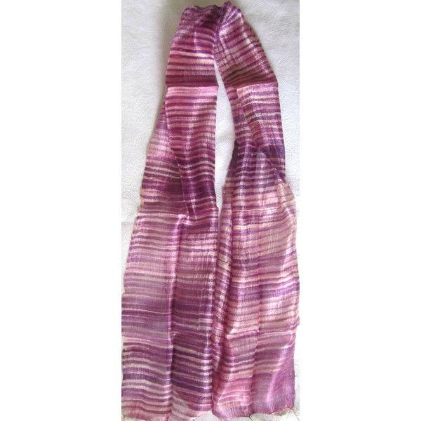 Lilac Silk Scarf Hand Dyed Handwoven Natural Pure Raw Silk Wedding Accessories Light Weight Batik Silk Scarf Handmade Wedding Gift For Her (€16) found on Polyvore featuring women's fashion, accessories, scarves, pure silk scarves, silk scarves, lightweight scarves, batik scarves and lightweight shawl