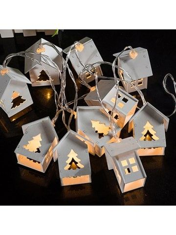 Wood House Christmas Tree String Lights Fairy LED Home Decor Light