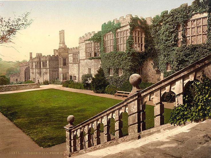 "Haddon Hall is an English country house on the River Wye at Bakewell, Derbyshire, one of the seats of the Duke Of Rutland, occupied by Lord Edward Manners and his family. In form a medieval manor house, it has been described as ""the most complete and most interesting house of its period."