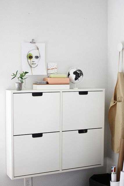 Wall mounted shoe cabinets for garage hall (mudroom) and front entry ways