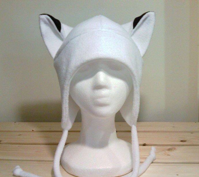 White Fox Hat - Fox Fleece Hat - Aviator Fox Hat - Fox Earflap Hat - Fox Ears -