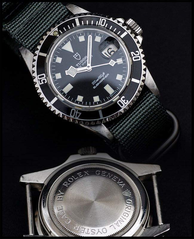 Tudor submariner ref 7021 with black dial on a NATO, nice!