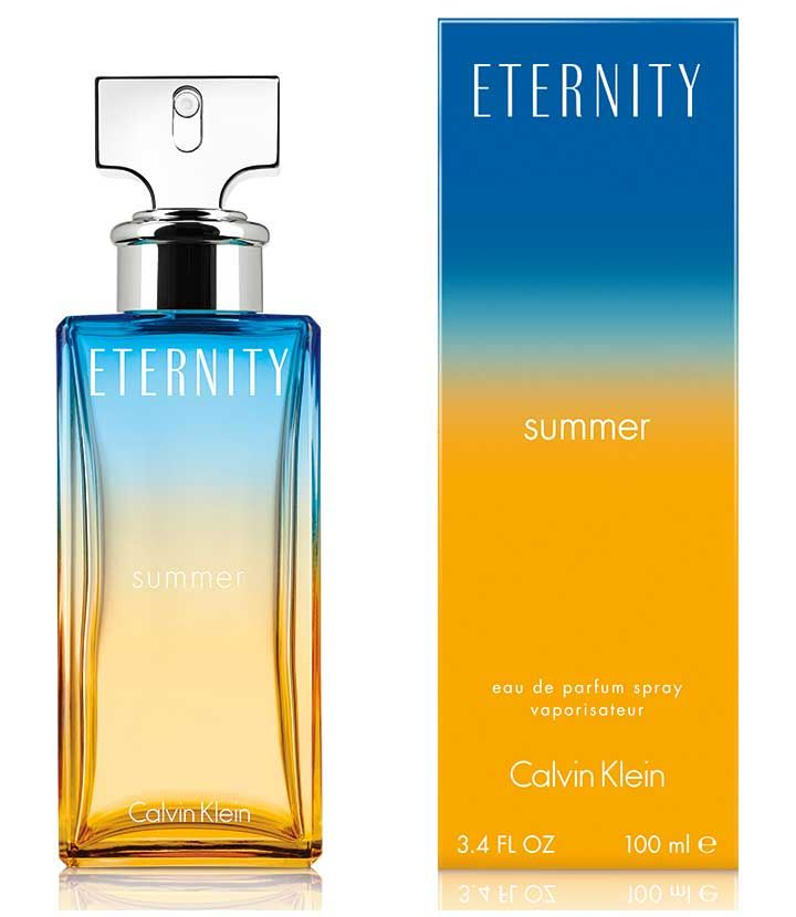 Eternity Summer 2017... - Top notes of star anise, desert rose and bergamot - Middle notes osmanthus, saffron and aquatic notes - Vetiver, sandalwood, olibanum and skin musk end the composition