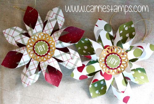 Woven Star Christmas Ornament click over for tutorial www.carriestamps.com
