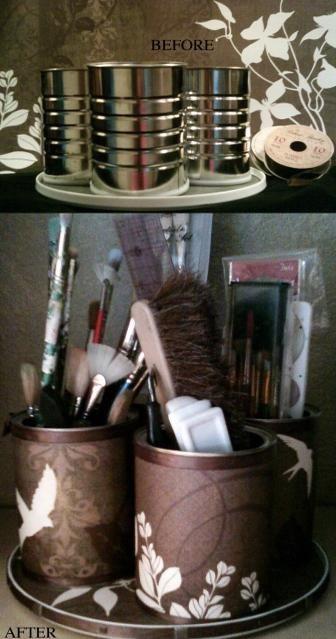 Latas servem agora como porta-trecos → Maquiagem / Reutilizar / Decorar / Diy