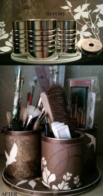 lazy susan, coffee cans, scrapbook paper, spray adhesive
