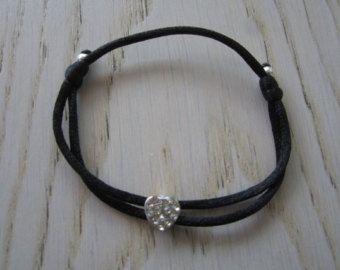 Cordoncino di seta scorrevole cuore strass bracciale, impilabile splendente braccialetto fatto a mano, gioielli donna, Teenager gioielli, bracciale Beach