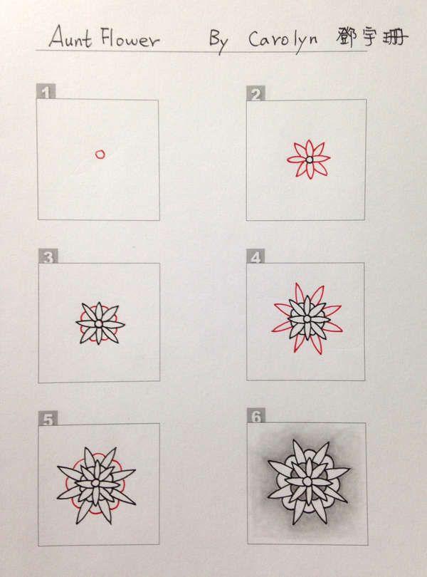 Aunt Flower Zentangle Pattern