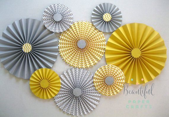 Set of 8 Gray and Yellow Rosettes, gray yellow Paper Fans, wedding Table Decorations -Bridal Showers, Paper Fans -  Candy Buffet Decorations