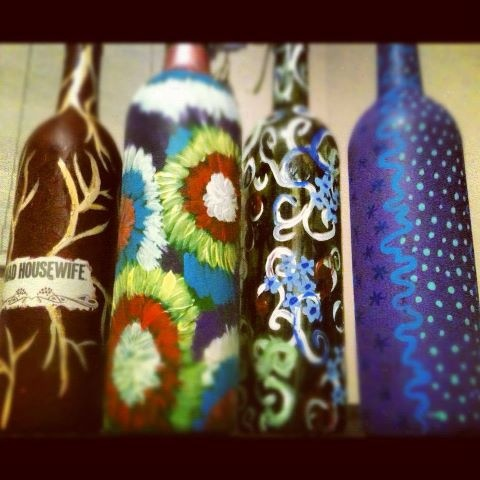 Decorate wine bottles with acrylic paint. Make it a fun event and invite some friends over and have a wine drinking and decorating party!
