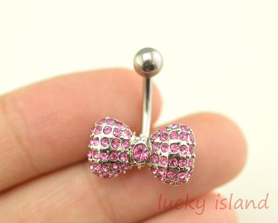 Purple Bow Belly Button Rings