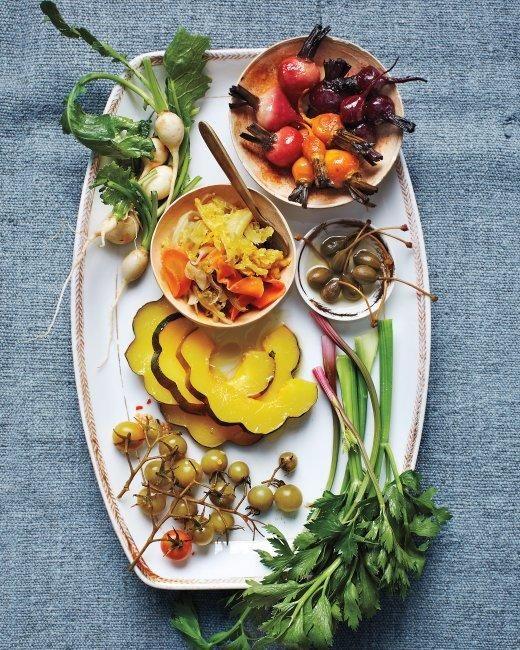 Pickle-Dressed Acorn Squash and Beets Recipe: Holidays Parties, Beet Recipes, Beets Recipes, Food, Pickle Dresses Acorn, Squashes, Pickled Dresses Acorn, Acorn Squash, Relish Trays