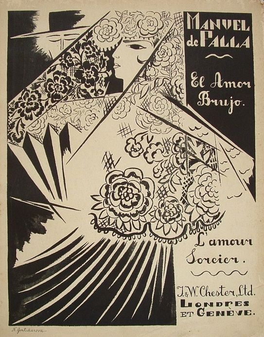 Sheet Music cover design by Nathalie Gontcharova, 1921, El amor brujo (L'amour Sorcier).