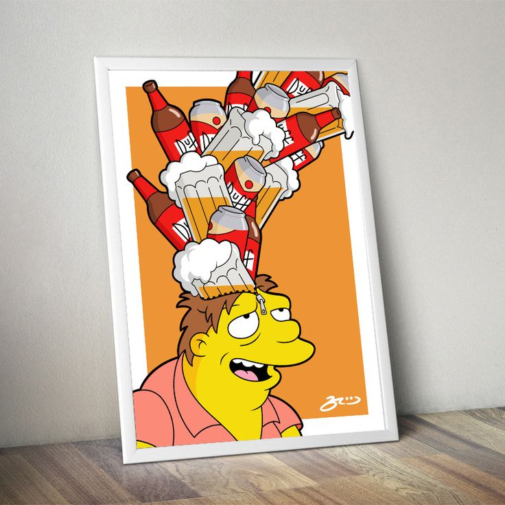 'Barney UNZIPPED' poster print #simpsons #popart #duff #beer