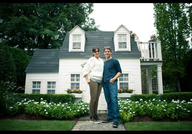 Jeff Gordon and wife Ingrid Vandebosch live in Charlotte, North Carolina, with their two young children. Here they stand in front of their daughter, Ella's, play house. Jeff Gordon Shifting Gears - pg.1