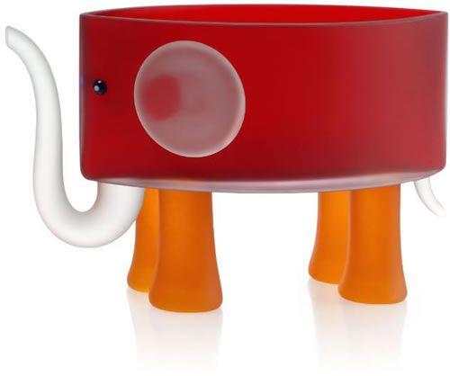 Ben the Elephant Bowl, Red- by Borowski