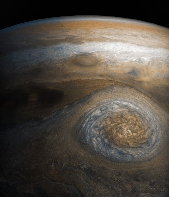 Jupiter Storm of the High North   Mission Juno : A dynamic storm at the southern edge of Jupiter's northern polar region dominates this Jovian cloudscape, courtesy of NASA's Juno spacecraft. This storm is a long-lived anticyclonic oval named North North Temperate Little Red Spot 1 (NN-LRS-1) (Image Credits: NASA/JPL-Caltech/SwRI/MSSS/Gerald Eichstädt/Seán Doran)