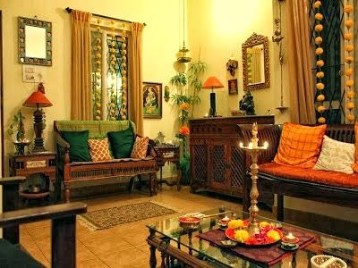 Traditional Indian Themed Living room. Every individual accessory has been tastefully chosen in keeping with the theme. Serene and traditional living room.
