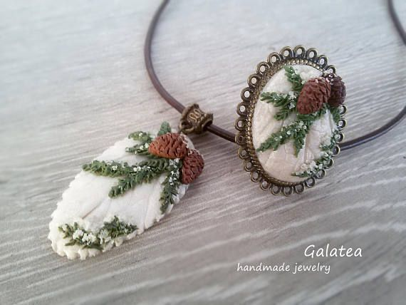 Pinecone jewelry set Woodland jewelry set Christmas Holiday jewelry Pine cone necklace Woodland ring Forest jewelry set Nature necklace, polymer clay pinecone jewelry ideas for winter