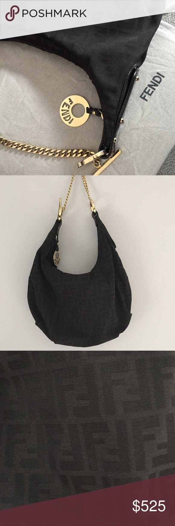 Authentic Fendi Small Chef Hobo Black Zucca Jacquard Fendi Hobo in impeccable used condition. Only sign of wear is slight tarnishing of gold toned hardware. Leather, jacquard, interior all clean and perfect. Priced to sell. Fendi Bags Shoulder Bags